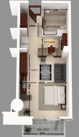 Planning of the apartment Studios, 479.96 in Al Safeer Tower 2, Dubai