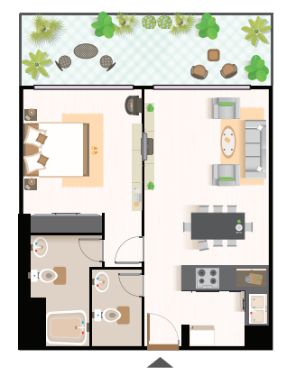 Planning of the apartment 1BR, 724.41 in Studio 101, Dubai
