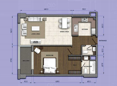 Planning of the apartment 1BR, 1053.55 in Orion Building, Dubai