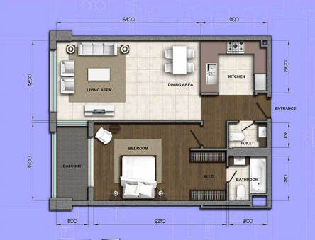 Planning of the apartment 1BR, 1056.8 in Orion Building, Dubai