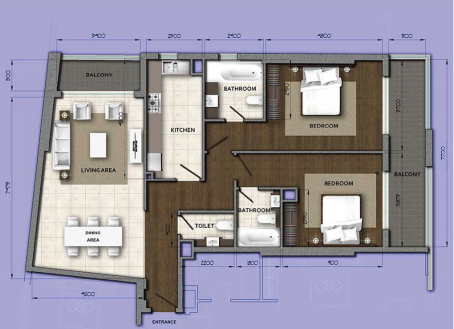 Planning of the apartment 2BR, 1797.43 in Orion Building, Dubai
