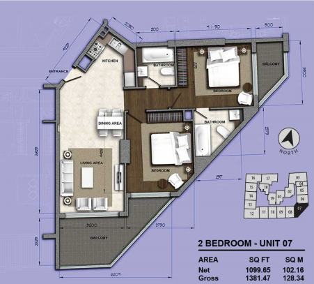 Planning of the apartment 2BR, 1381.47 in Orion Building, Dubai