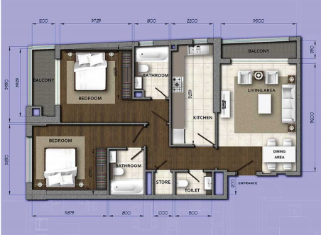 Planning of the apartment 2BR, 1400.81 in Orion Building, Dubai