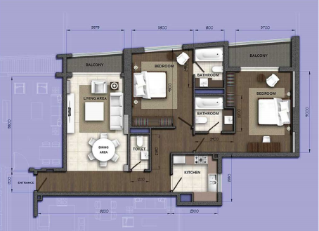 Planning of the apartment 2BR, 1611.9 in Orion Building, Dubai