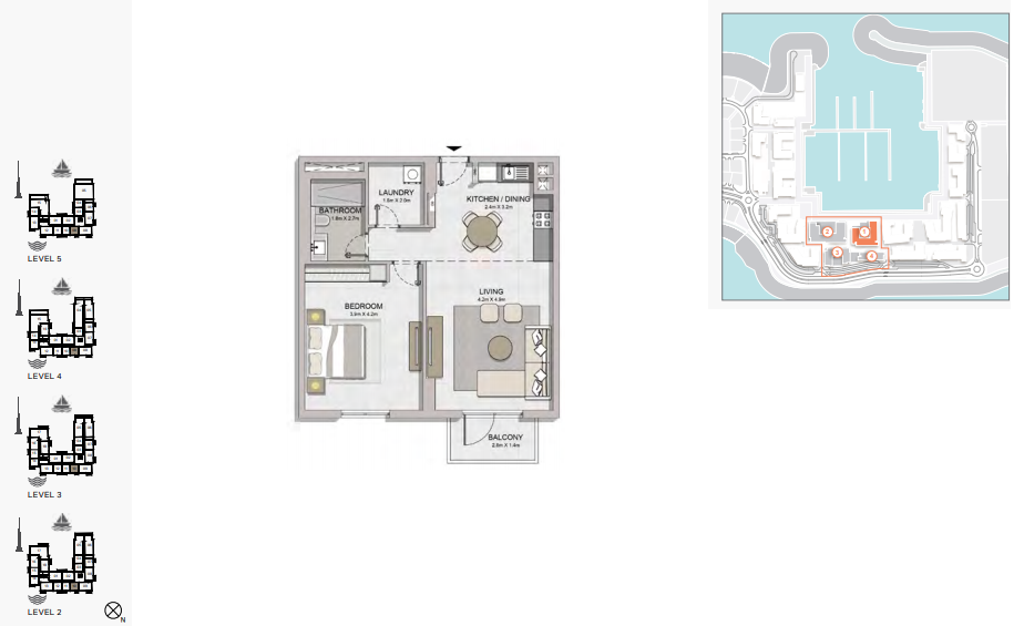 Planning of the apartment 1BR, 790 in La Rive, Dubai