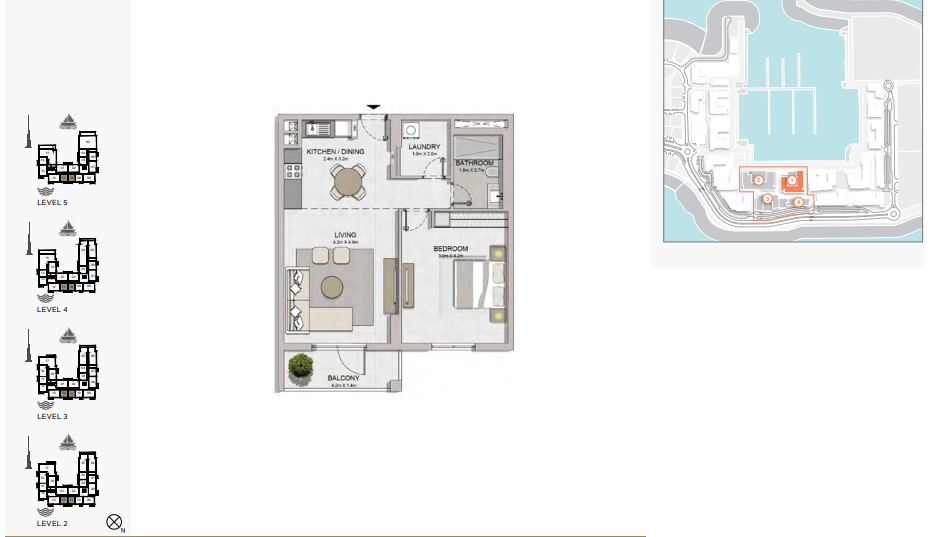 Planning of the apartment 1BR, 815 in La Rive, Dubai
