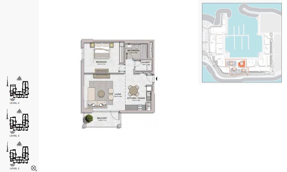Planning of the apartment 1BR, 831 in La Rive, Dubai