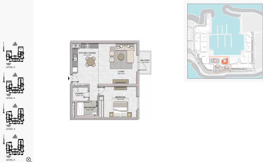 Planning of the apartment 1BR, 902 in La Rive, Dubai