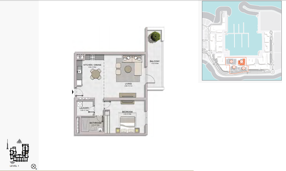 Planning of the apartment 1BR, 1006 in La Rive, Dubai