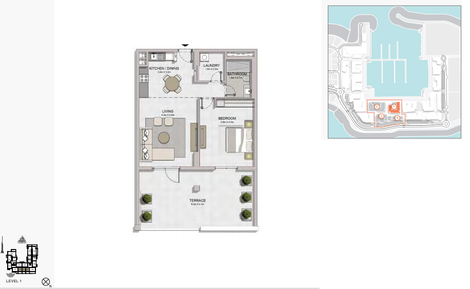 Planning of the apartment 1BR, 1132 in La Rive, Dubai