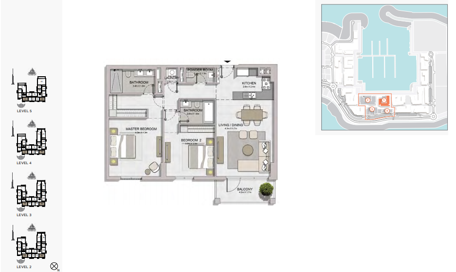 Planning of the apartment 2BR, 1212 in La Rive, Dubai
