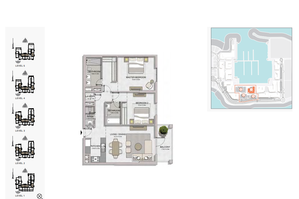 Planning of the apartment 1BR, 1216 in La Rive, Dubai