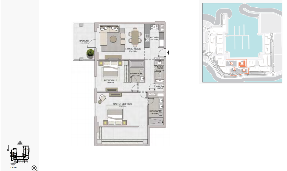 Planning of the apartment 2BR, 1404 in La Rive, Dubai