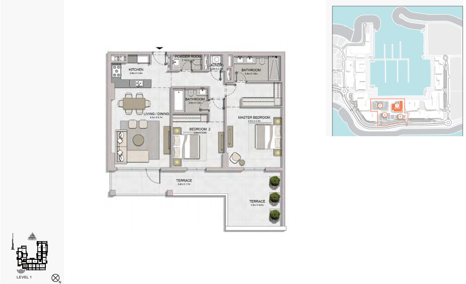 Planning of the apartment 2BR, 1483 in La Rive, Dubai