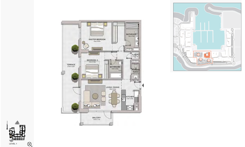 Planning of the apartment 2BR, 1545 in La Rive, Dubai