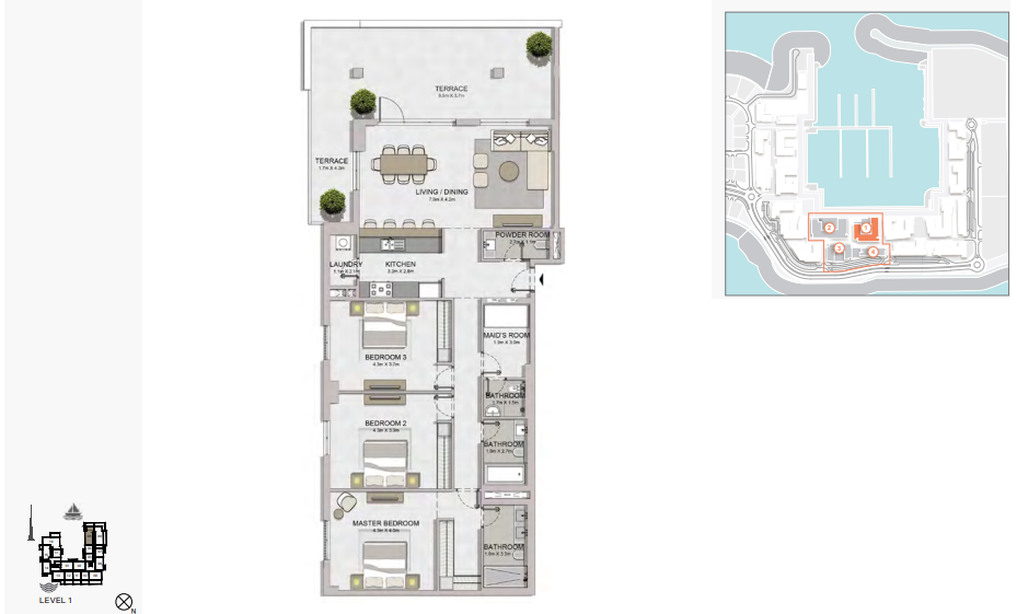 Planning of the apartment 3BR, 2240 in La Rive, Dubai