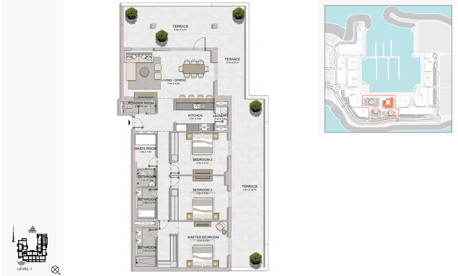 Planning of the apartment 3BR, 2826 in La Rive, Dubai