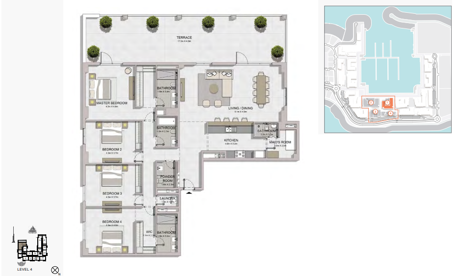 Planning of the apartment 4BR, 3214 in La Rive, Dubai