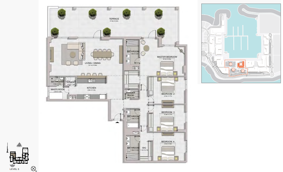 Planning of the apartment 4BR, 3291 in La Rive, Dubai