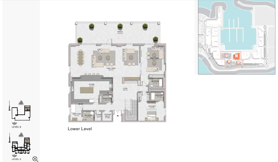Planning of the apartment 5BR, 8896 in La Rive, Dubai