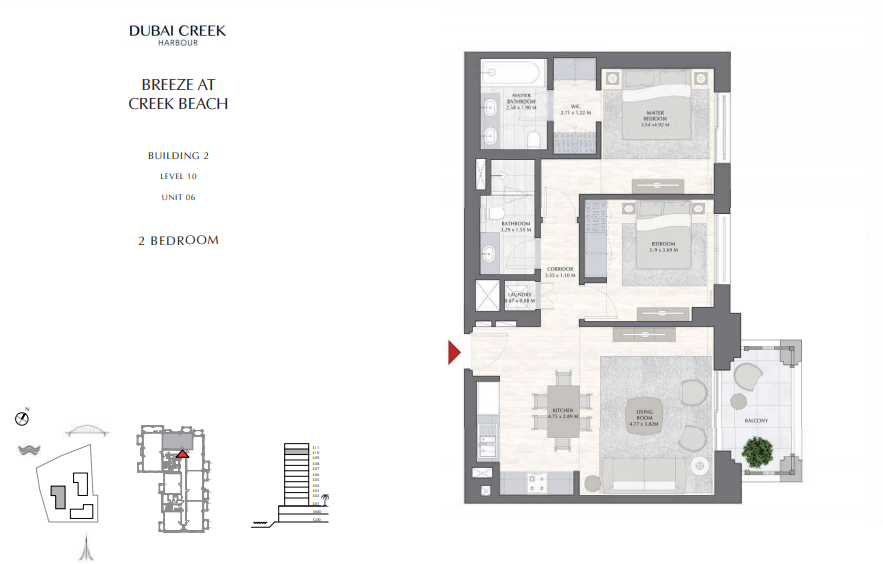 Planning of the apartment 2BR, 1011.81 in Breeze, Dubai