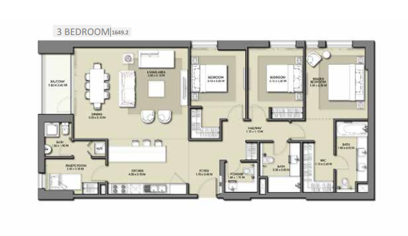 Planning of the apartment 3BR, 1649.2 in Park Point Apartments, Dubai