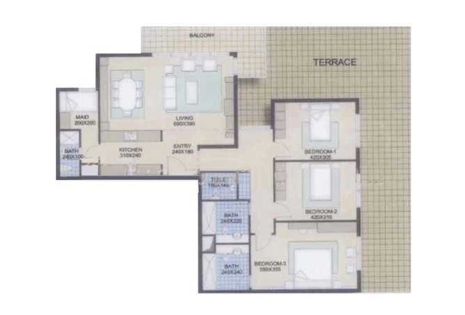 Planning of the apartment 3BR, 2238 in Al Reef Community, Abu Dhabi
