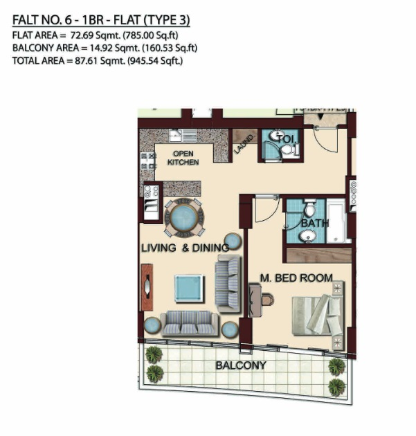 Planning of the apartment 1BR, 945.54 in Olgana Tower, Dubai