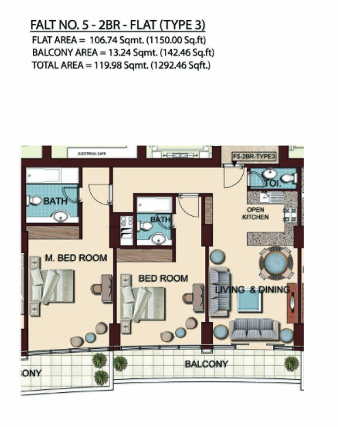 Planning of the apartment 2BR, 1292.46 in Olgana Tower, Dubai