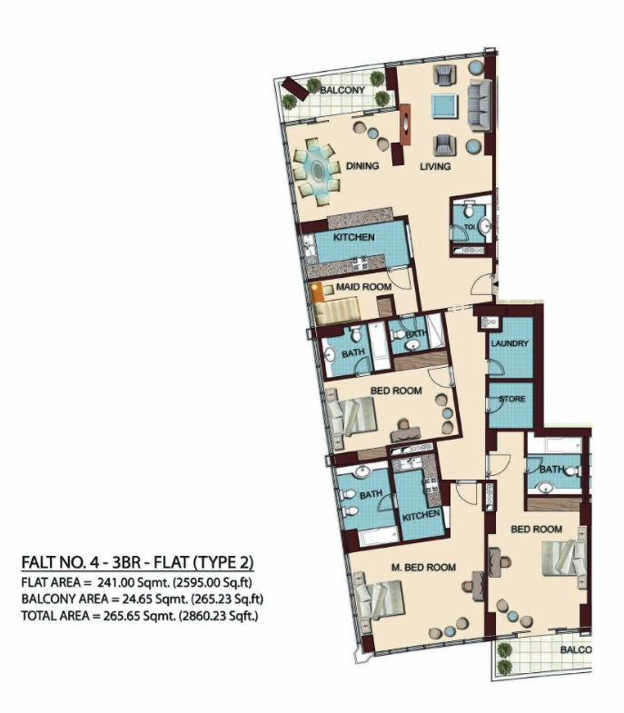Planning of the apartment 3BR, 2860.23 in Olgana Tower, Dubai