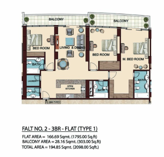 Planning of the apartment 3BR, 2098 in Olgana Tower, Dubai