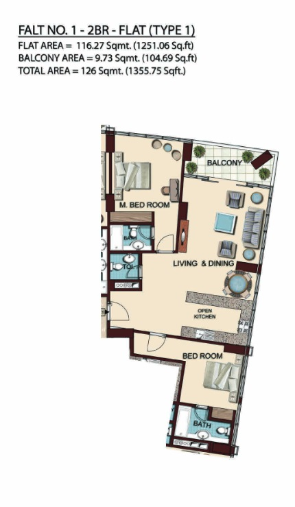 Planning of the apartment 2BR, 1355.75 in Olgana Tower, Dubai