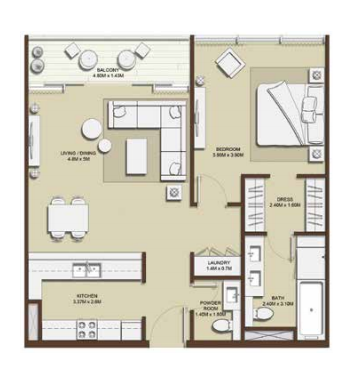 Planning of the apartment 1BR, 862.3 in Mulberry, Dubai