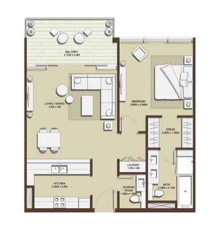 Planning of the apartment 1BR, 914.61 in Mulberry, Dubai