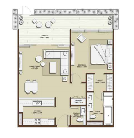 Planning of the apartment 1BR, 1000.07 in Mulberry, Dubai