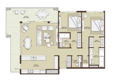 Planning of the apartment 2BR, 1596.1 in Mulberry, Dubai