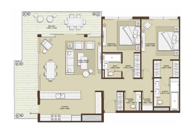 Planning of the apartment 2BR, 1603.18 in Mulberry, Dubai