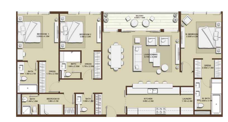 Planning of the apartment 3BR, 1732.45 in Mulberry, Dubai