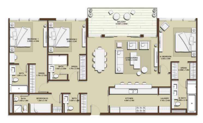 Planning of the apartment 3BR, 1806.94 in Mulberry, Dubai