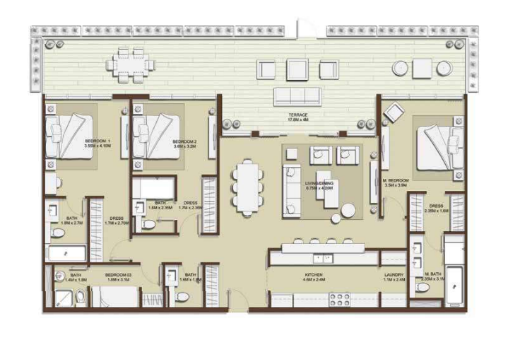 Planning of the apartment 3BR, 2207.08 in Mulberry, Dubai