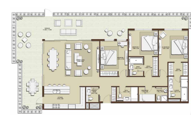 Planning of the apartment 3BR, 2486.46 in Mulberry, Dubai