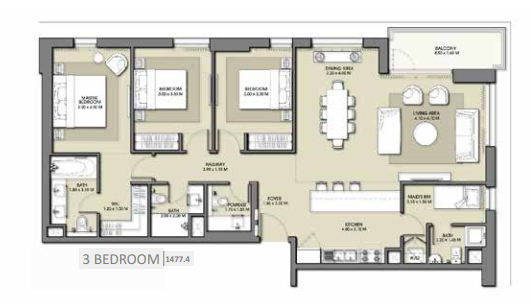 Planning of the apartment 3BR, 1477.4 in Park Point Apartments, Dubai