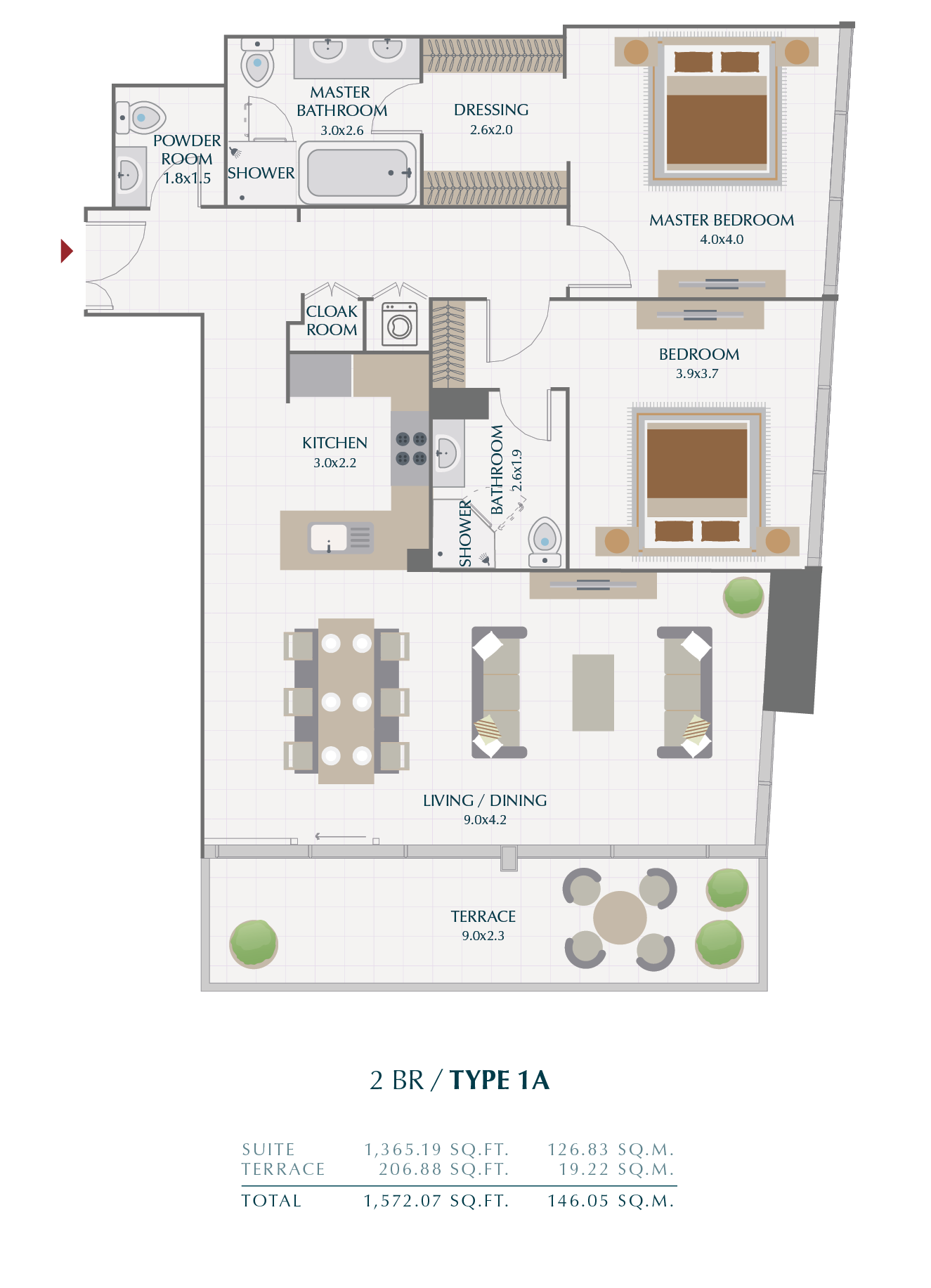 Planning of the apartment 2BR, 146.05 in Wasl1 Park Gate Residences, Dubai