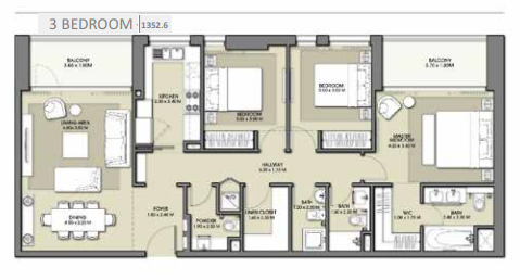 Planning of the apartment 3BR, 1352.6 in Park Point Apartments, Dubai
