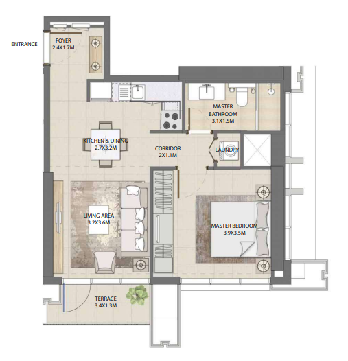 Planning of the apartment 1BR, 638.19 in Burj Royale, Dubai