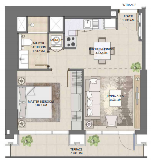 Planning of the apartment 1BR, 652.72 in Burj Royale, Dubai
