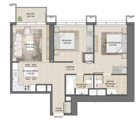 Planning of the apartment 2BR, 933.77 in Burj Royale, Dubai