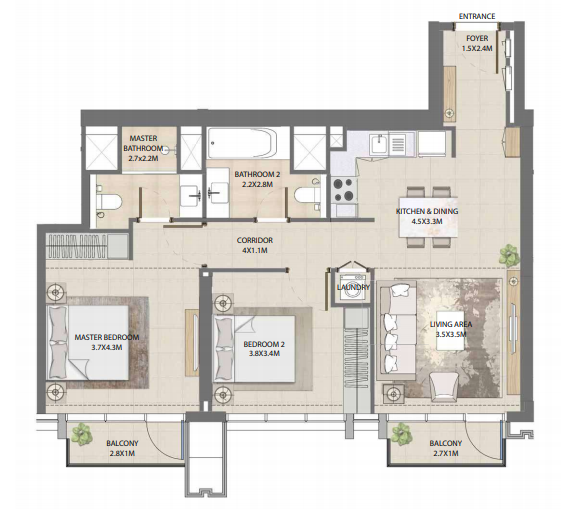 Planning of the apartment 2BR, 957.66 in Burj Royale, Dubai