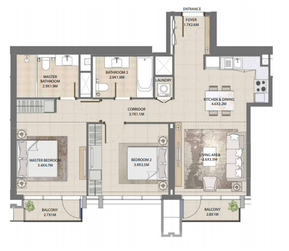 Planning of the apartment 2BR, 1001.26 in Burj Royale, Dubai