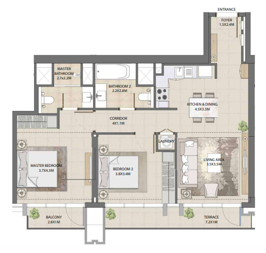Planning of the apartment 2BR, 1006.42 in Burj Royale, Dubai